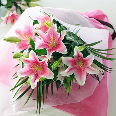 ピンクユリ20輪の花束