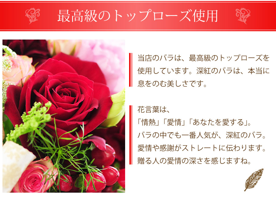 深紅のバラは、本当に息をのむ美しさで贈る人の愛情の深さを感じますね。
