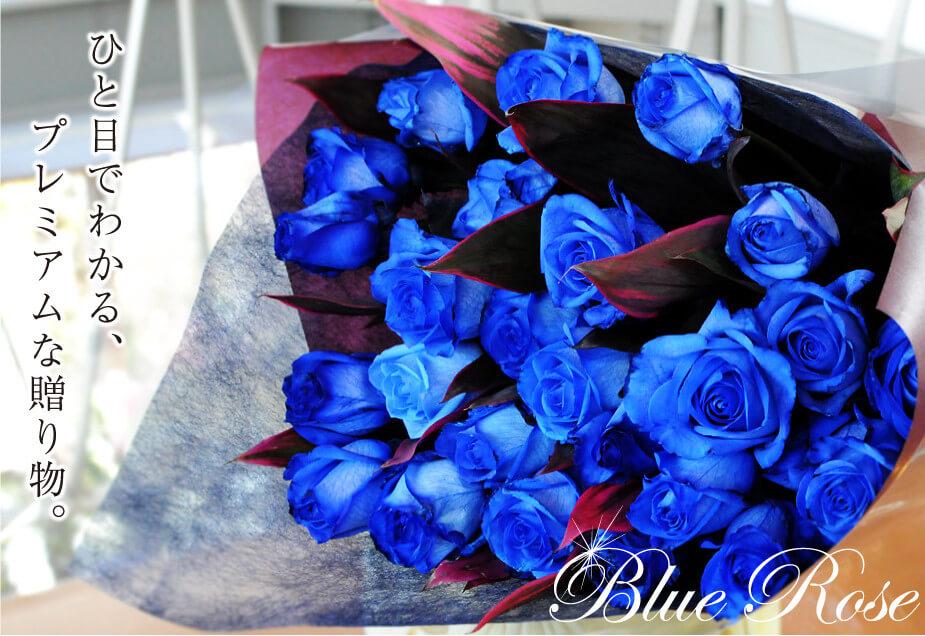 ひとめでわかる、プレミアムな贈り物 青薔薇(バラ)、ブルーローズの花束