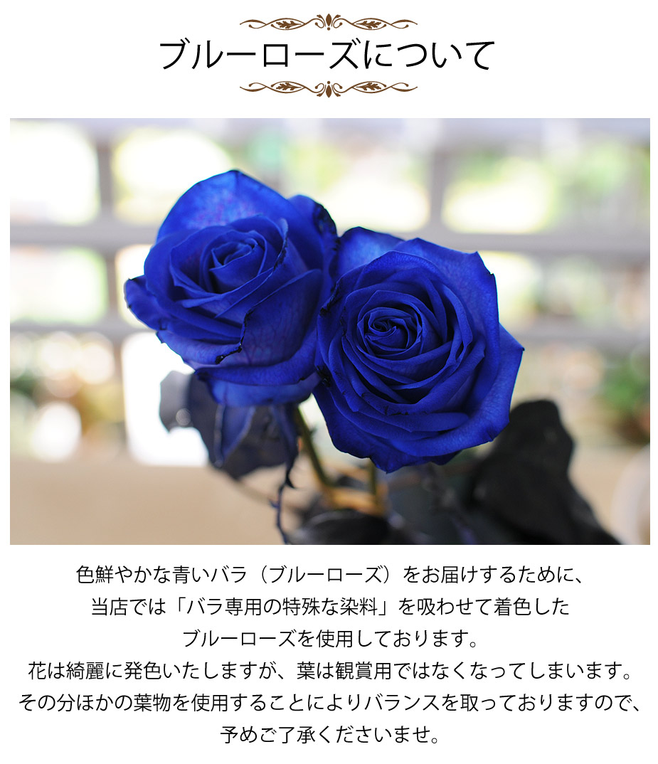 ブルーローズ、特殊な染料で染めた、深いブルーのバラの花束をメインに。ドラセナなどの葉物を使用しバランス良い花束に仕上げます。ラッピング・リボン、ブルーローズのイメージに合わせてシックにまとめています・