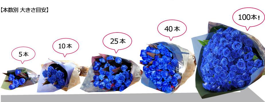 青薔薇(バラ)、ブルーローズの花束は5本から100本までお選び頂けます。