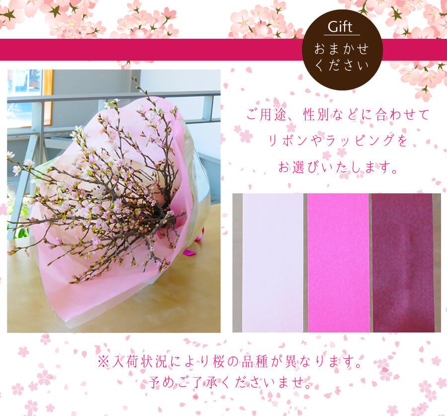 Gift おまかせください。ご用途、性別などに合わせてリボンやラッピングをお選びいたします。※入荷状況により桜の品種が異なります。予めご了承くださいませ。
