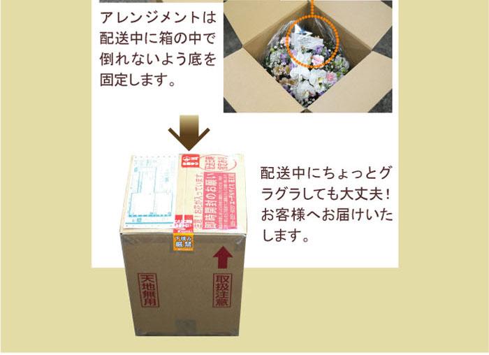アレンジメントは配送中に箱の中でたおれないよう底を固定します。配送中にちょっとぐらぐらしても大丈夫!お客様へお届け致します。