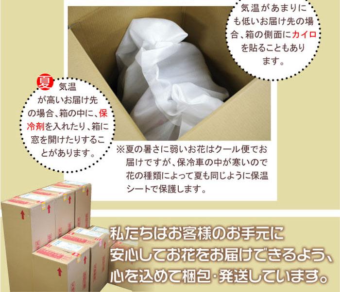 気温があまりに低いお届け先の場合、箱の側面にカイロを貼ることもあります。気温が高いお届け先の場合、箱の中に保冷剤を入れたり、箱に窓を開けたりすることがあります。