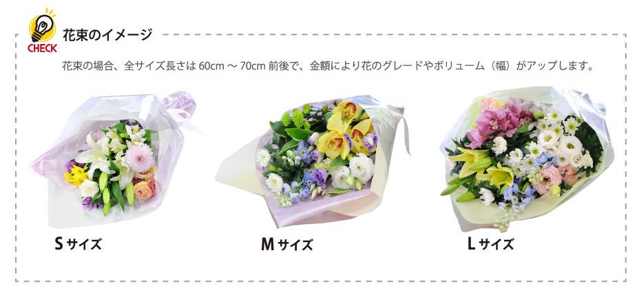 花束のサイズ一覧