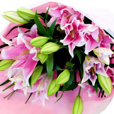 ピンクユリ15輪の花束