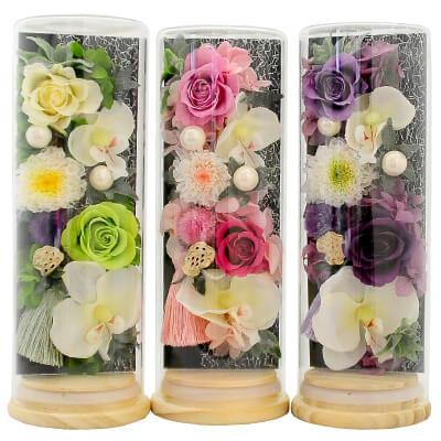お供え用プリザーブドフラワー ジュジュ-Juju- 全3色 ガラスボトル入り